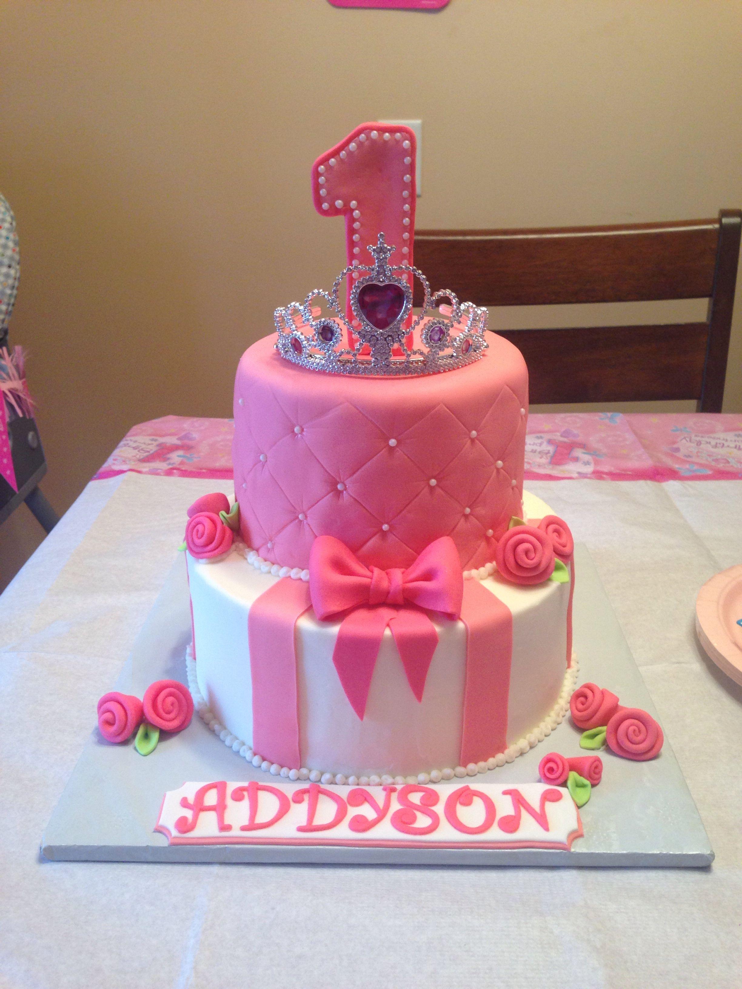 Princess Tiara Quilted Bow Rose Birthday Cake