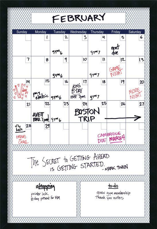 Mezzanotte Blue Quatrefoil Big Dry Erase Calendar Whiteboard 3 X