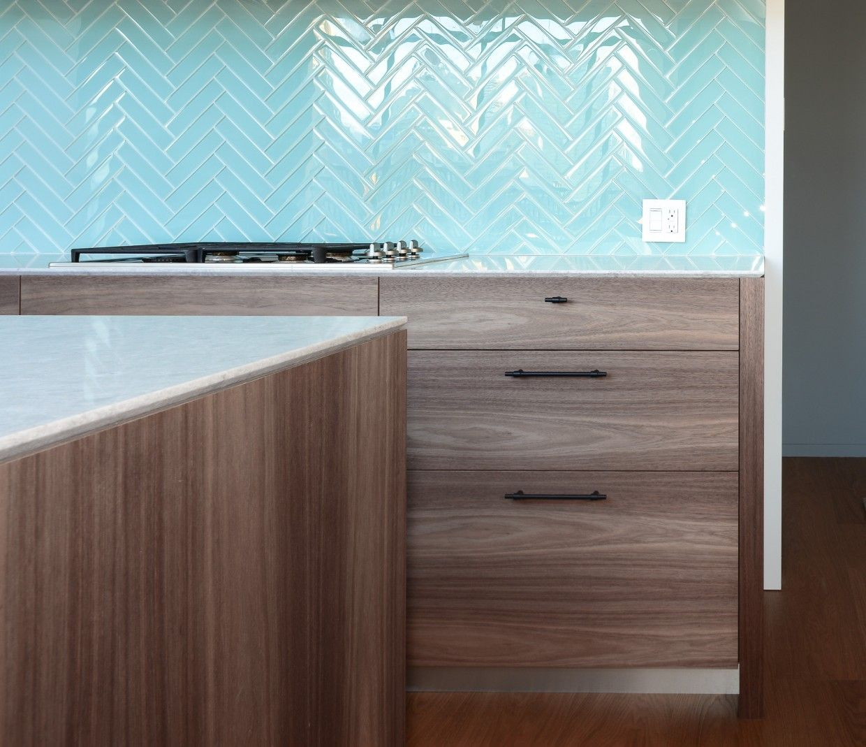 Beautiful aqua color glass tile kitchen backsplash in herringbone ...