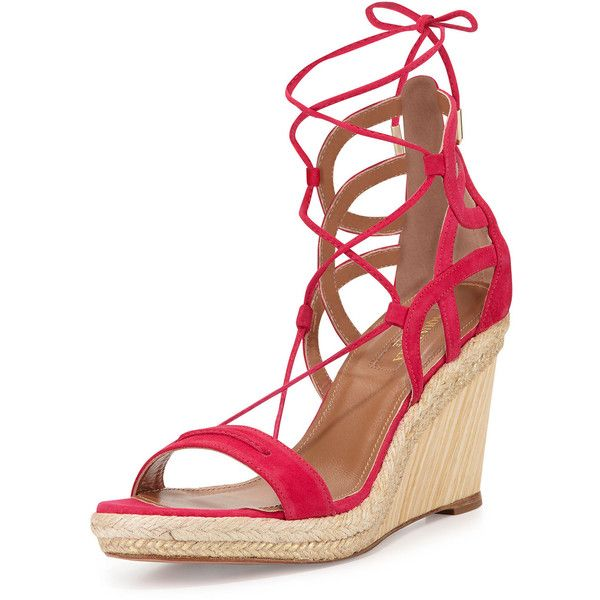 Aquazzura Mirage Espadrille Wedge Sandal ($357) ❤ liked on Polyvore featuring shoes, sandals, pink, woven wedge sandals, wedge heel sandals, leather wedge sandals, leather lace up sandals and lace up wedge sandals
