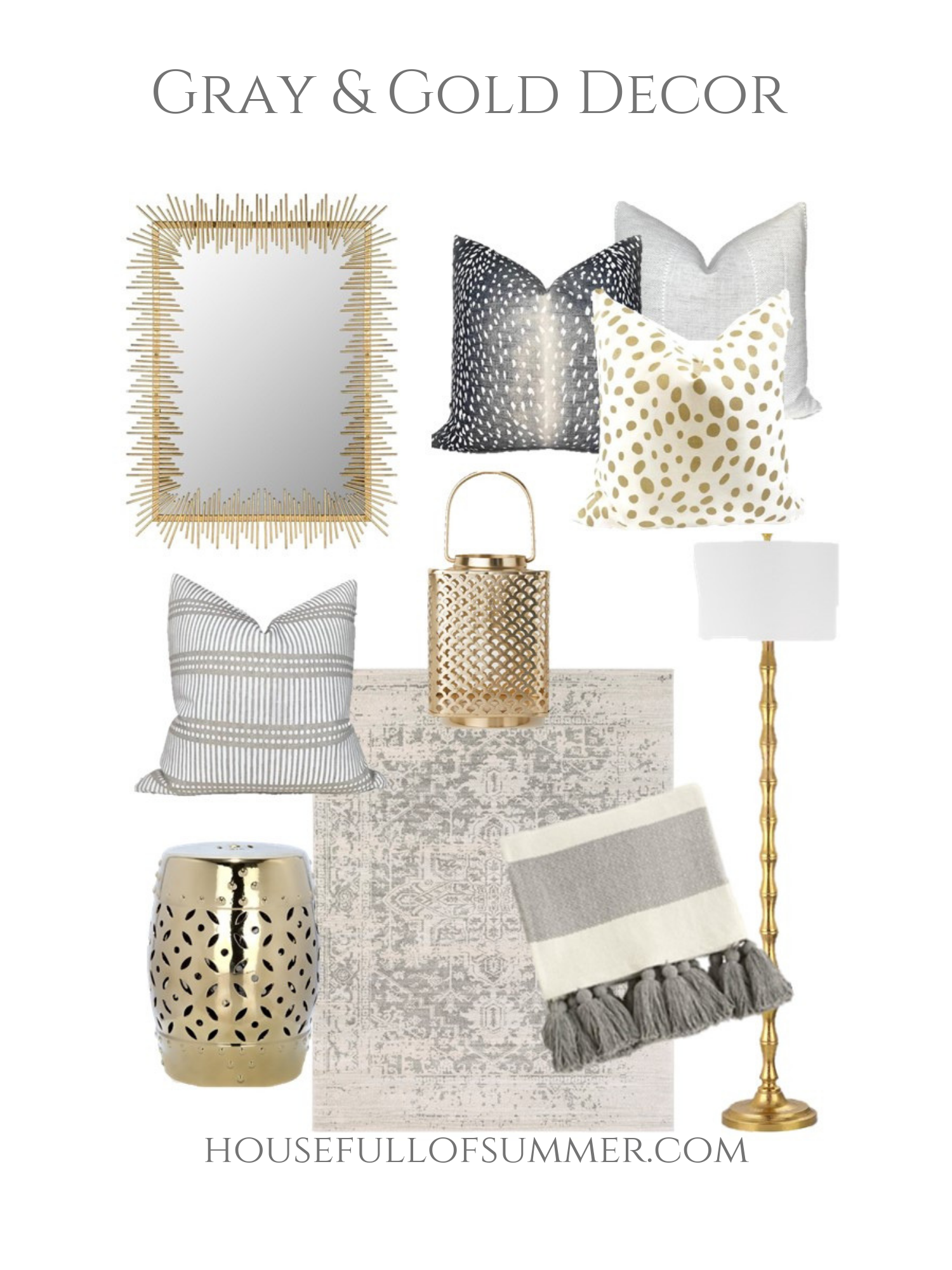 Mood Board : Gray & Gold Decor Plus How to Easily Make a Space Feel #coastallivingrooms