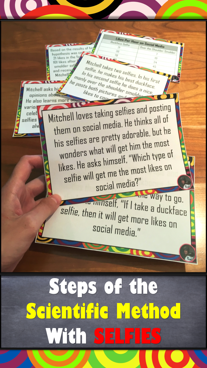 Steps Of The Scientific Method Activity With Selfie Scenarios Scientific Method Activities Scientific Method Middle School Science
