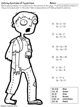 Zombie Color by Number Solving Systems of Equations  Algebra 1
