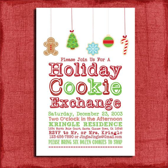 Printable Holiday Cookie Exchange Party Invitation Diy Valentine