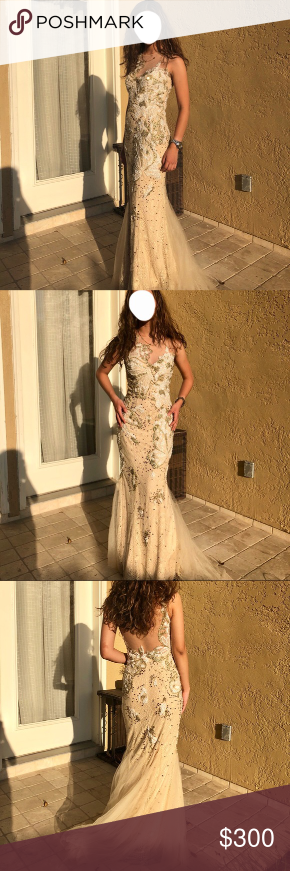 Jovani champagnegold eveningprom dress size my posh picks