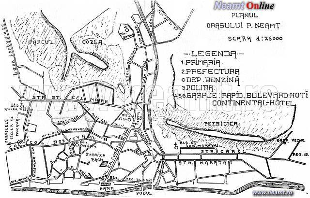 Harta Orasului Piatra Neamţ In 1929 Piatra Neamt Art