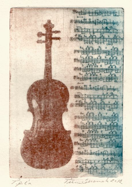 Keep calm and play the cello / Etching / Tiina M. Suomela