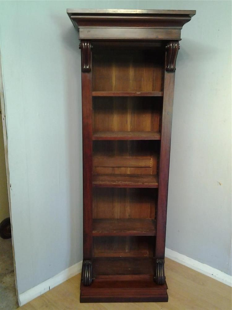 victorian tall narrow mahogany bookcase carved detail adjustable shelves - Mahogany Bookshelves