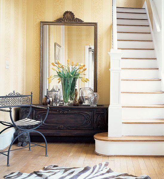 31 Stair Decor Ideas To Make Your Hallway Look Amazing: Foyer-stairs-hall-entrance-neutral-decor-zebra-rug-mirror