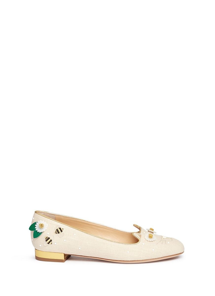 CHARLOTTE OLYMPIA  Floral Kitty  honeybee embroidered linen flats.   charlotteolympia  shoes  flats ca016f97e