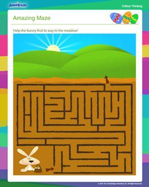 Amazing Maze - Free Critical Thinking Worksheet for 1st Grade