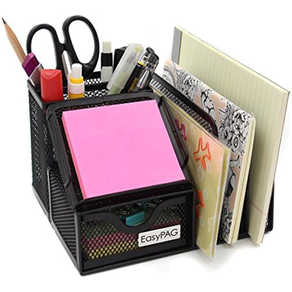 Mesh Metal Desk Organizer Caddy With Drawer Office Accessories ...