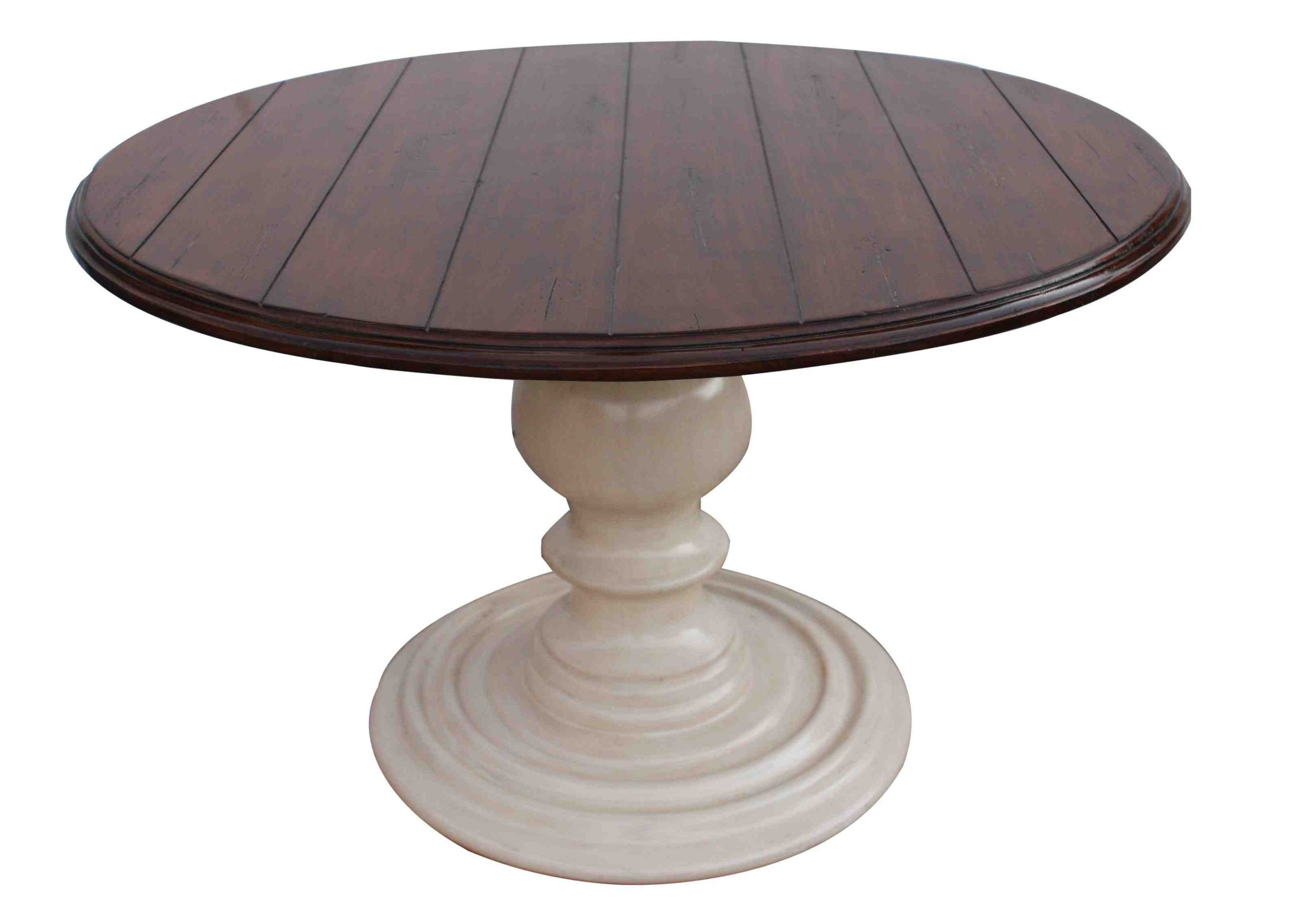Glorious Two Tone Pedestal Round Dining Table With Brown Mahogany