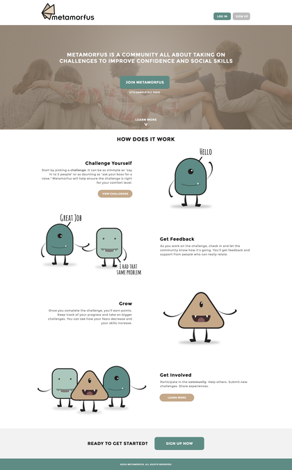 Landing page for social skills community website by IX Pixels