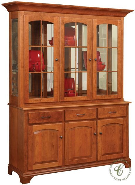 Artfully Crafted Of Solid Hardwood This Colonie Shaker China Hutch Showcases Your Heirloom And