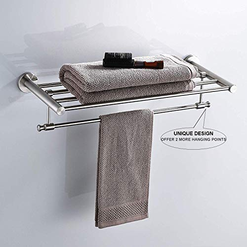 Whifea Brushed Nickel Towel Shelf With Towel Bar Stainless Steel