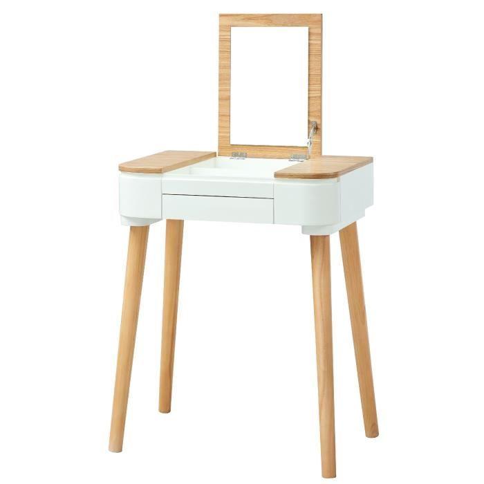 LYA Coiffeuse scandinave laqué blanc mat plateau placage bois frêne ...