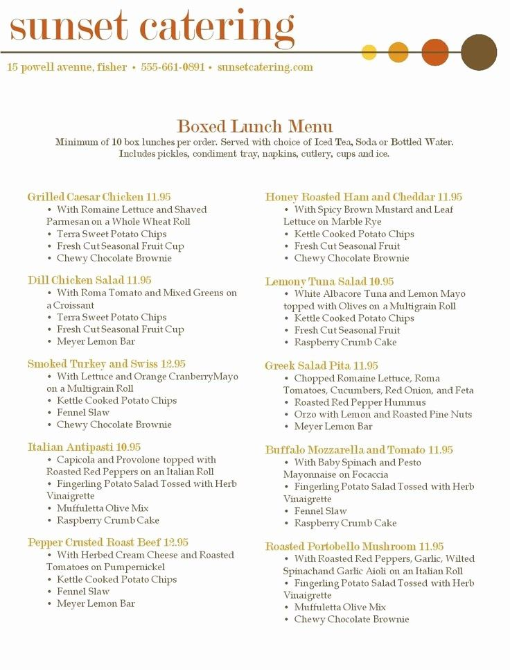 Catering Menu Samples in 2020 Lunch catering, Catering