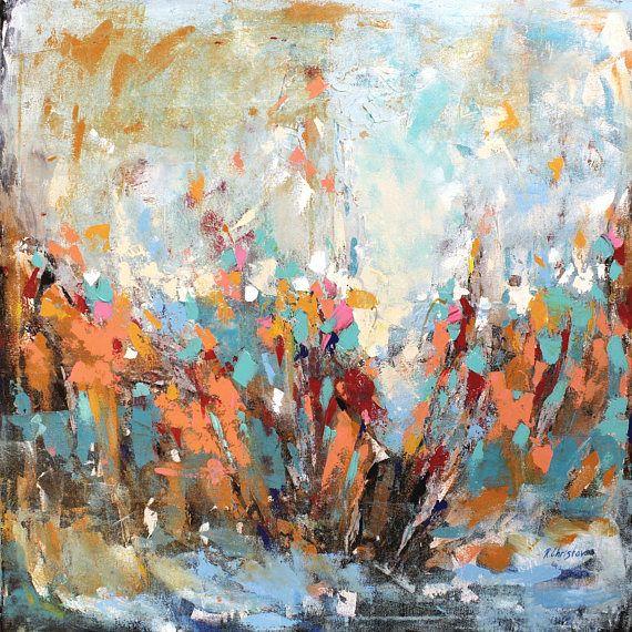 Original pintura abstracta grande colores naranja azul for Pintura verde agua