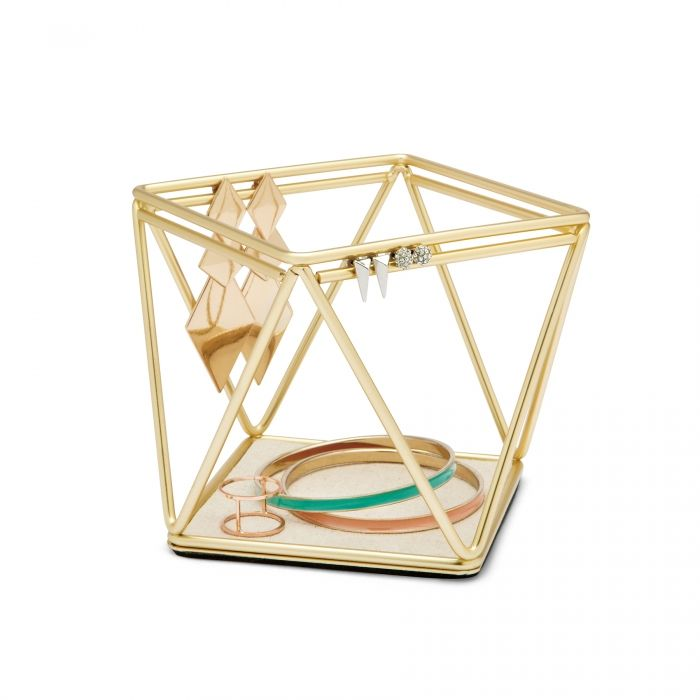 This golden geometric organizer is perfect for hanging small