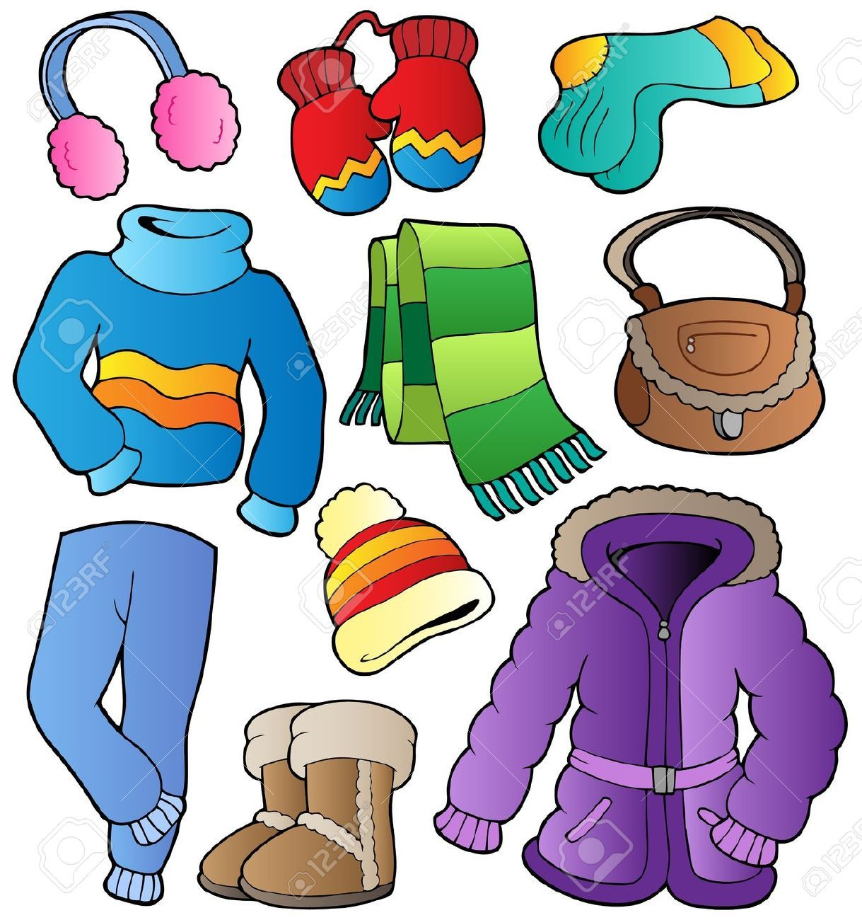 children in winter clothes coloring