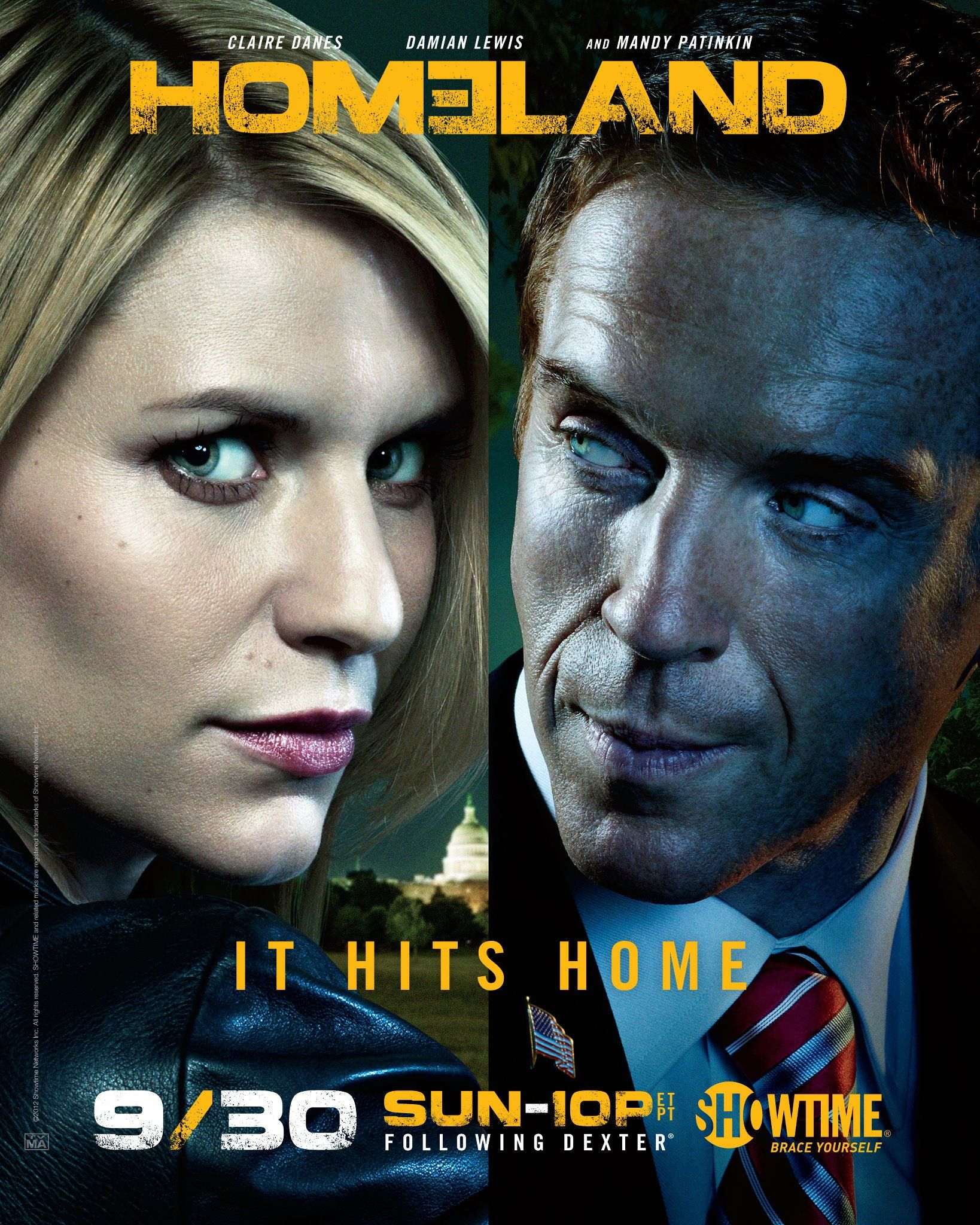 Homeland Season 2 Tv Show Trailer Poster Damian Lewis Claire