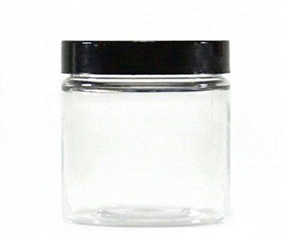61ecdbaec1cb Jars and Holders 41368: 12 Clear Plastic Jar With Black Lid 8 Oz ...