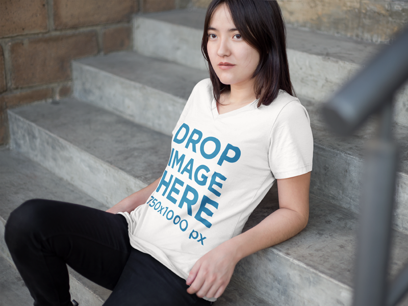Download New T Shirt Mockup Of An Asian Woman Sitting On A Stairway Try It Here Https Placeit Net C Apparel Stages T Shirt Moc Women Clothing Mockup V Neck T Shirt