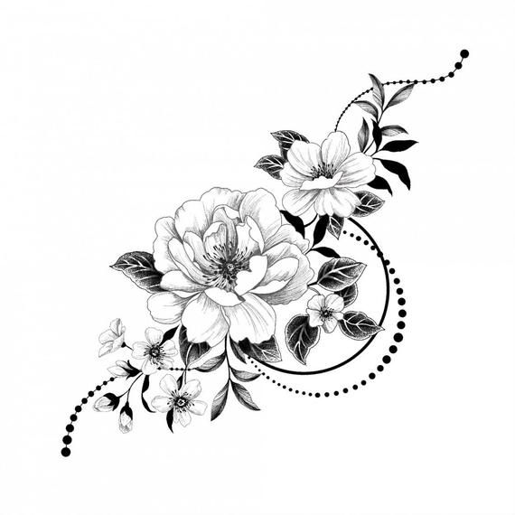 Graphic flowers Temporary Tattoo / Romance flash tattoo / Monochrome jewelry / Passionate Floral composition / Gift idea / Safe tattoo