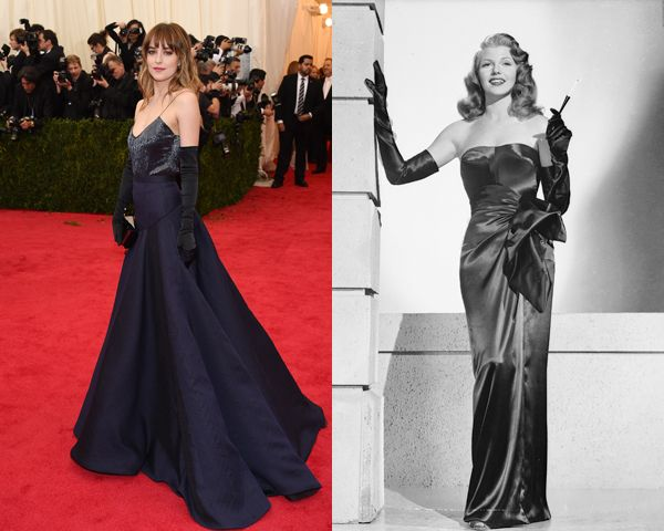 Dakota Johnson in Jason Wu. The 50 Shades of Grey star channeled Rita Hayworth in the film noir Gilda (1946). #MetGala2014