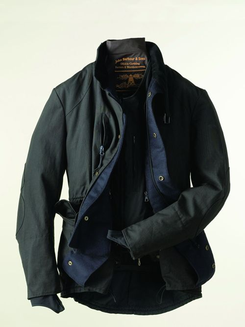 Barbour x Tokito Motorcycle Jacket - Waterproof 8oz waxed canvas, with a detachable thermal lining, and built in wrist warmers. Super Baller.
