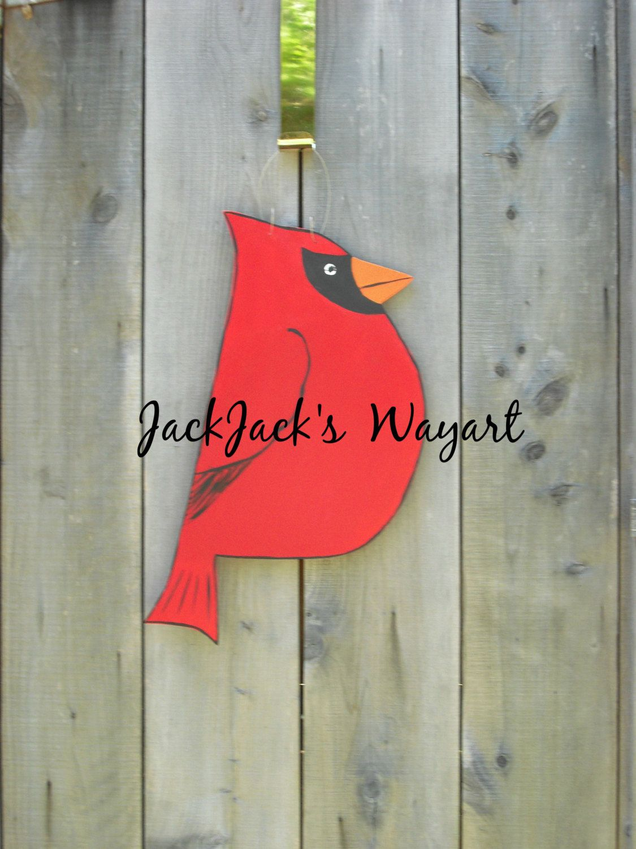 Cardinal door hanger Red bird door art Bird door hanger wood garden stake Winter door hanger & Cardinal door hanger Red bird door art Bird door hanger wood ... Pezcame.Com