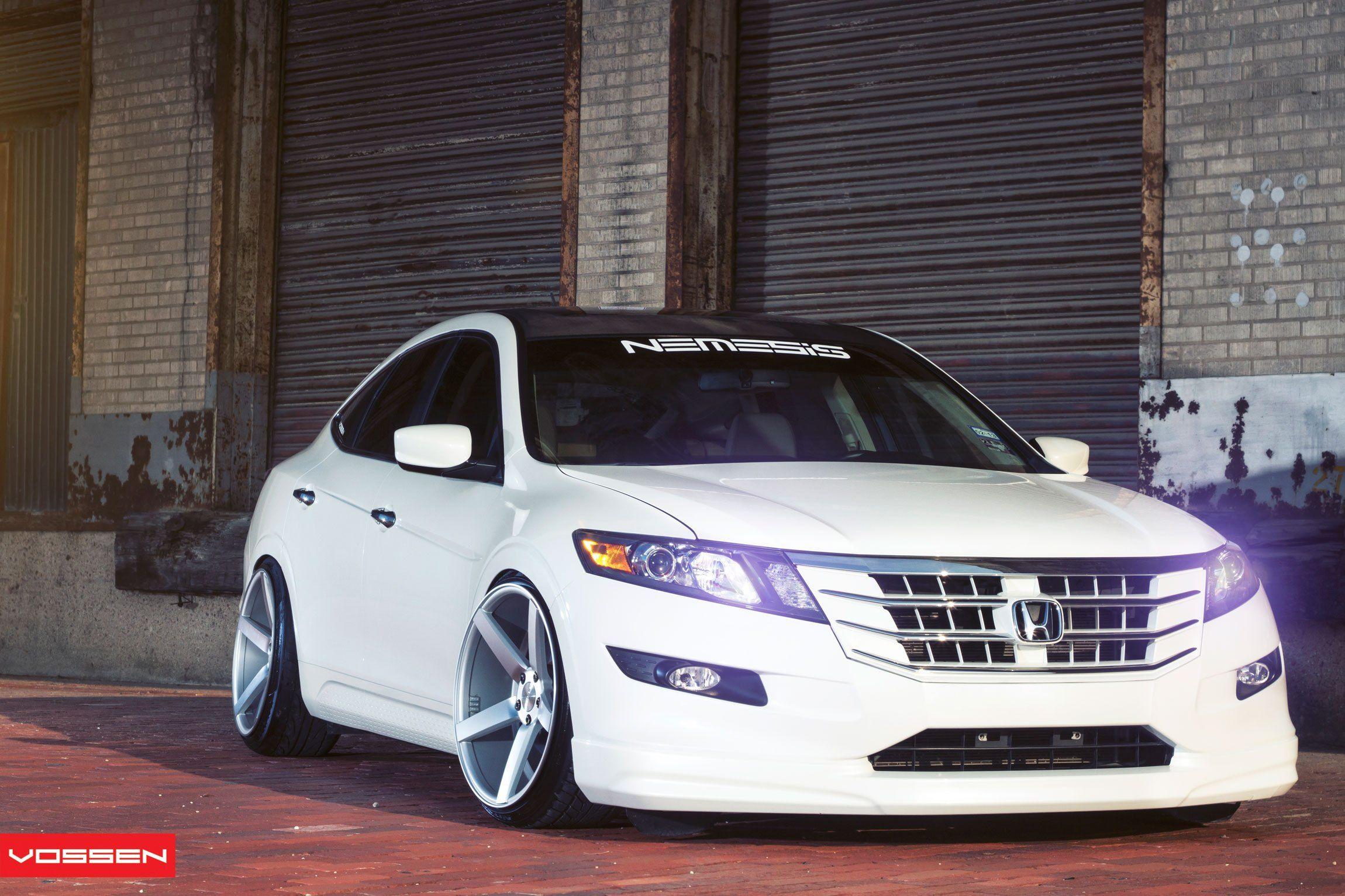 Custom White Honda Boasting Contrasting Black Roof And Vossen Rims Honda Crosstour Honda Accord Honda Accord Custom