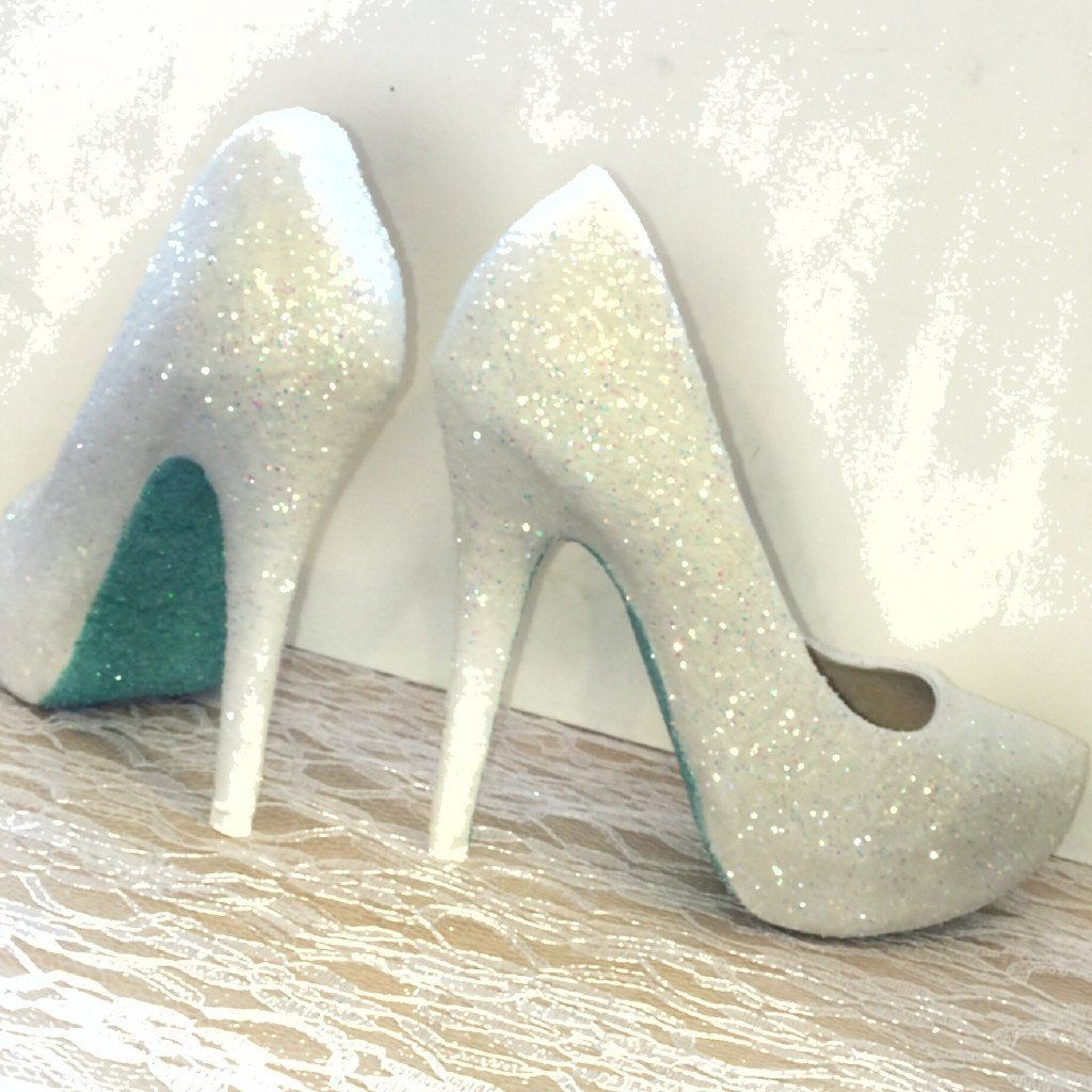 Womens Sparkly White or Ivory Glitter high low Heels Wedding bride ...