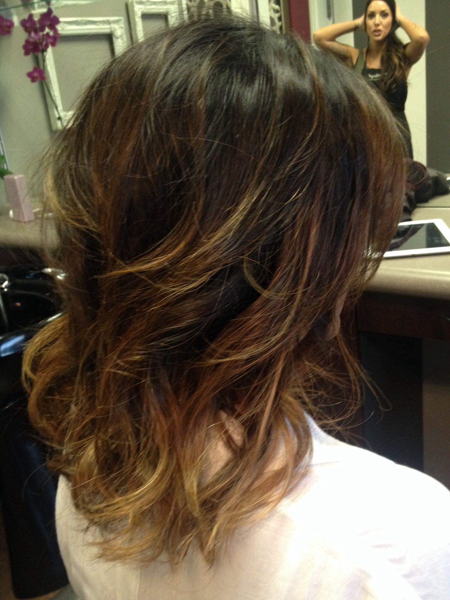 short shoulder length ombre hair. stella salon in sacramento