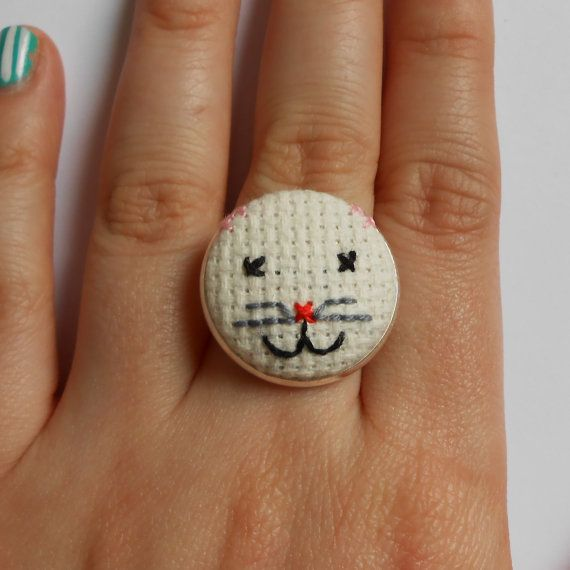 Little Kitten Ring Hand Sewn in Cross Stitch by MaMagasin on Etsy