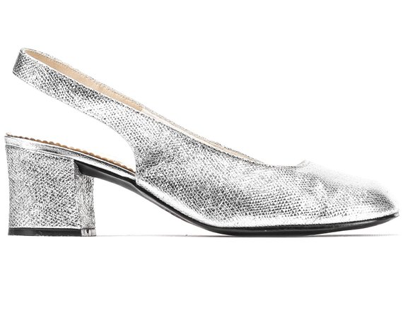 489901201d7 US women 6.5 Metallic Shoes Vintage 60s 70s Glam Party Heels Back Strap  Sandals Sparkly Silver Heels