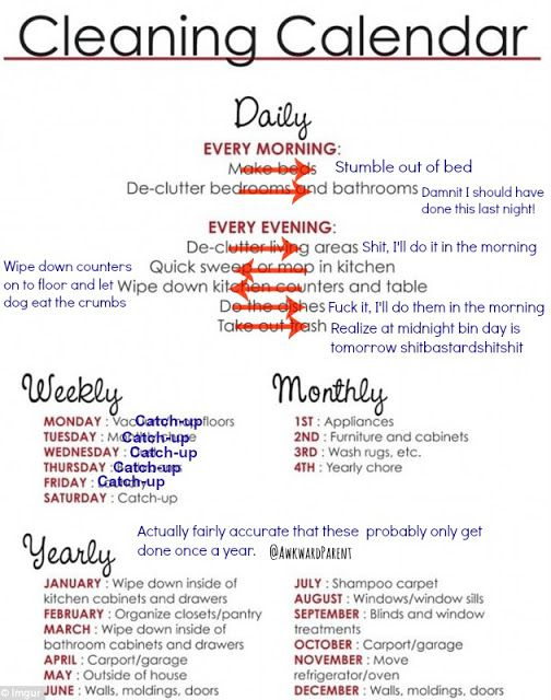 Let's call this one a bit more of a realistic cleaning calendar... #pblogger #cleaning #aintnobodygottimeforthat