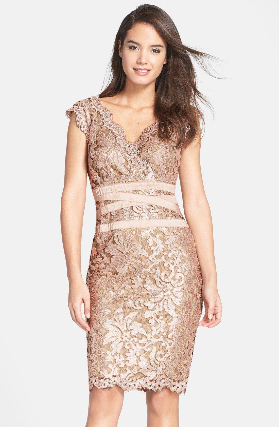 1fc279d3b7273 Tadashi Shoji Sequin Lace Sheath Dress (Regular   Petite ...