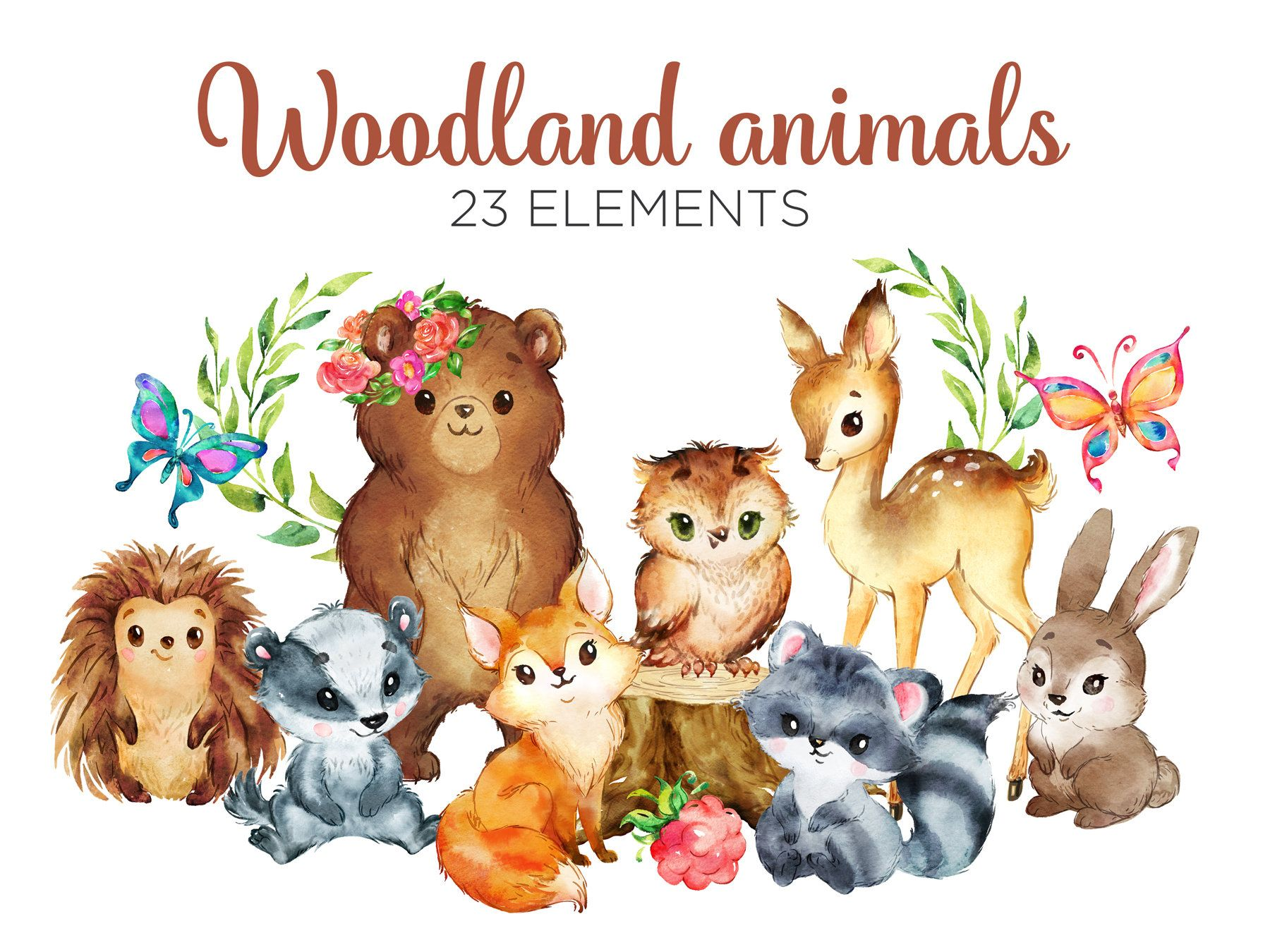 Watercolor Woodland Animals Clipart Forest Animals Clip