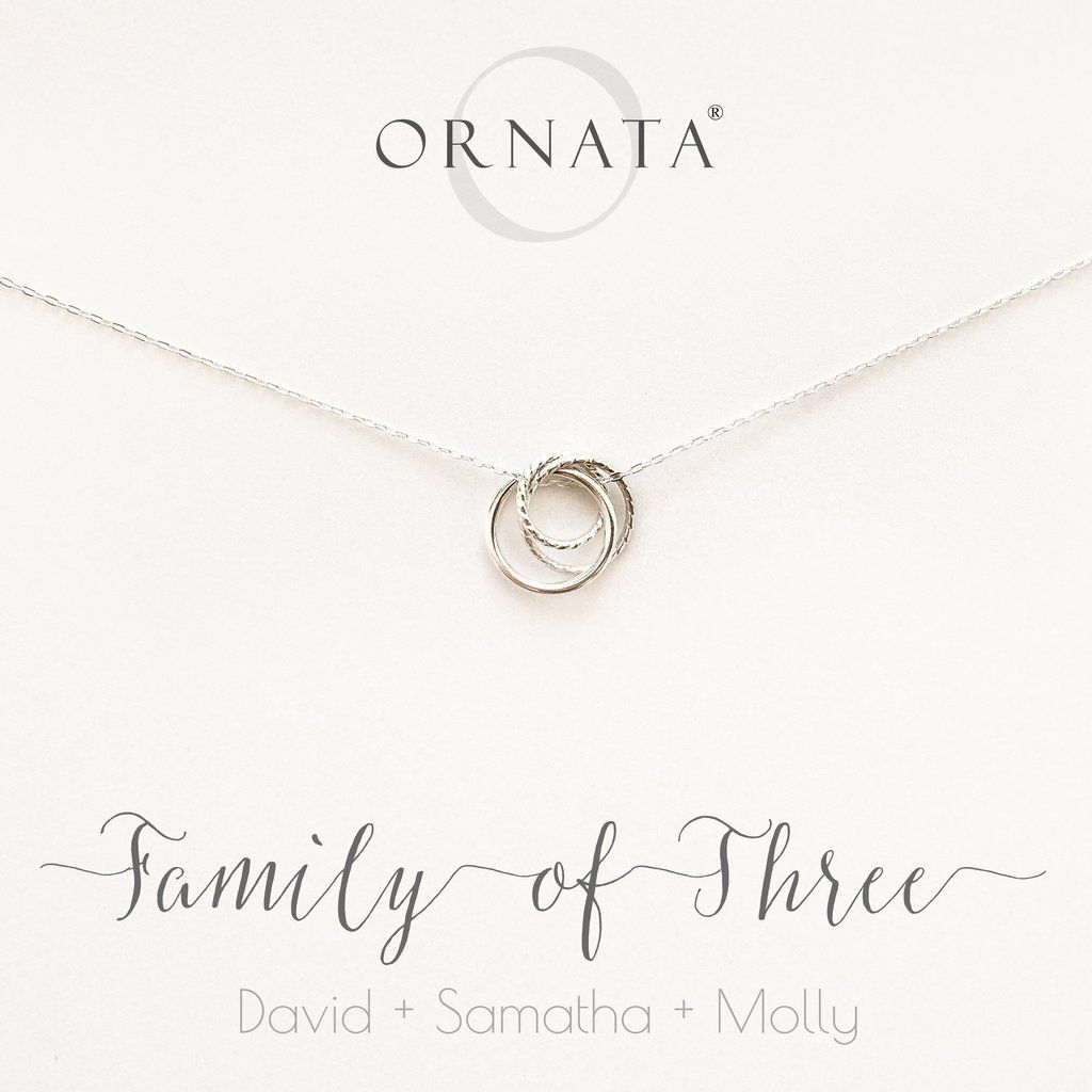 "Photo of ""Family of Three"" Interlocking Sterling Silver Necklace on Personalized Jewelry Card"