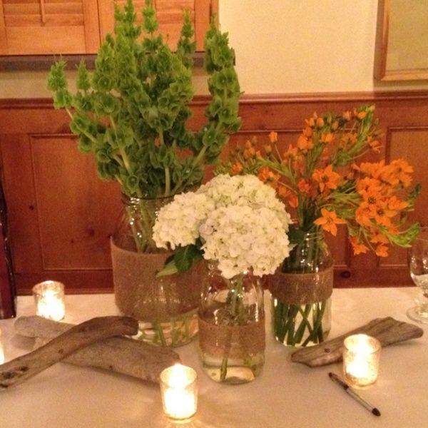 Retirement Party Guest Book Table Mason Jars Burlap Flowers