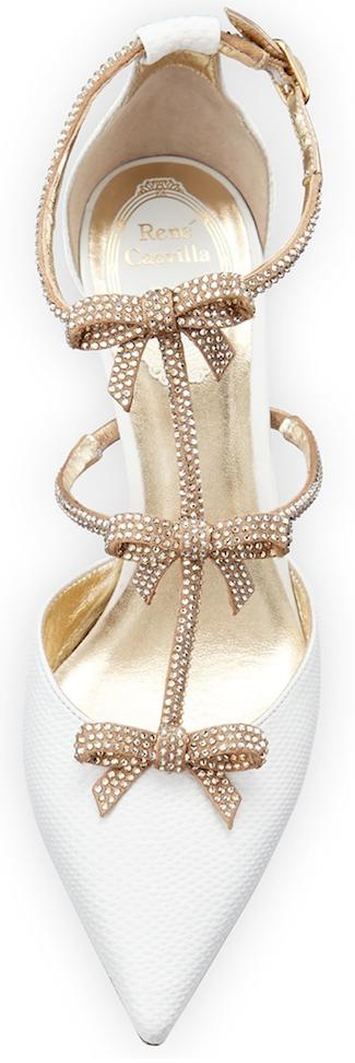 Rene Caovilla Crystal Bow-Embellished Karung Low-Heel Pump