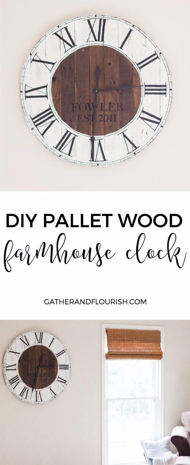 50 Rustic Farmhouse Ideas to Make and Sell   Farmhouse clocks ...