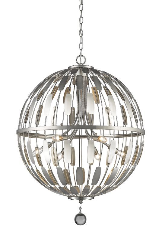 Z Lite 430b24 Almet 6 Light Pendant With Clear Globe Crystal Shade Br