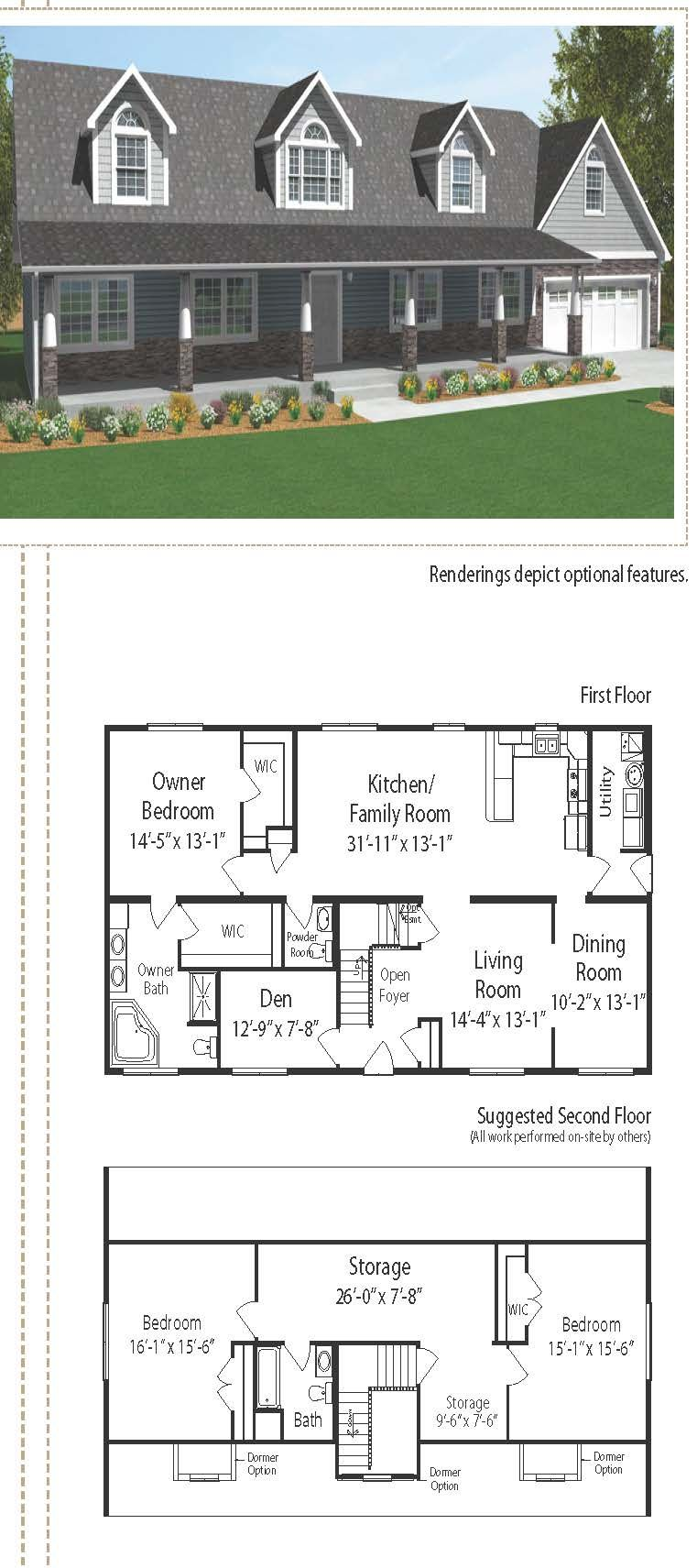 This Country Cape Cod Style Home Is 2561 Square Feet The Exterior Of The Home Consists Of Half Stone Pillars In Floor Plans Cape Cod Style House House Layouts