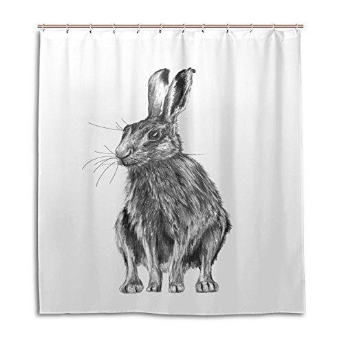WDYSECRET Rabbit Shower Curtain Increasing Thickness Wate