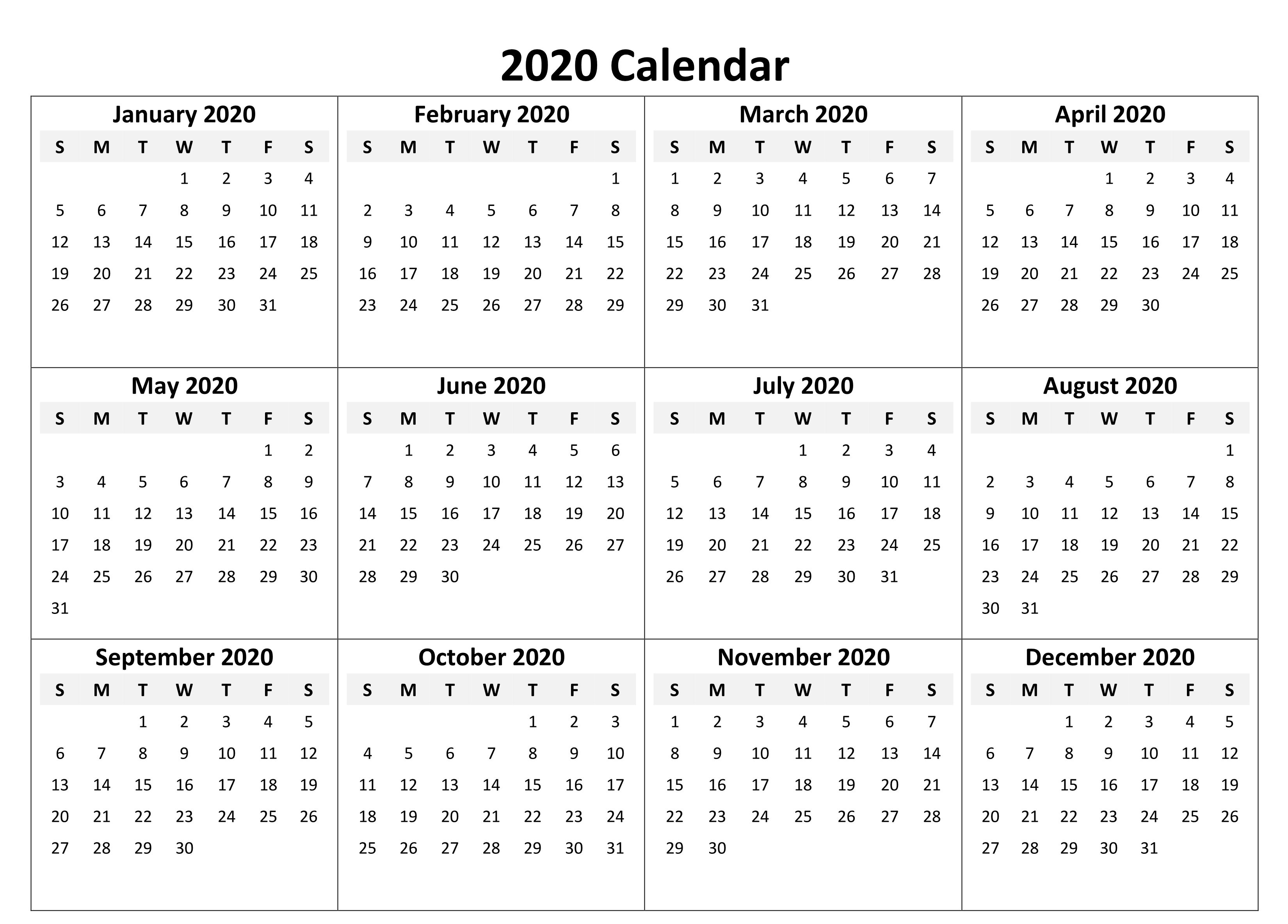 Yearly Calendar 2020 Free Download Printable Yearly Calendar Monthly Calendar Template 12 Month Calendar