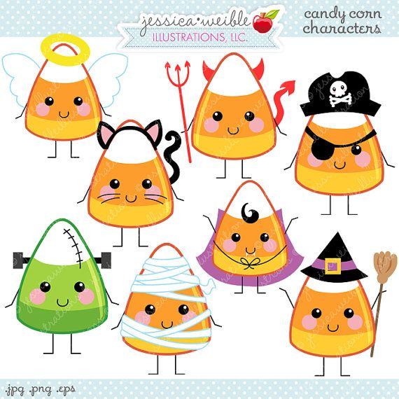 Candy Corn Characters Cute Digital Clipart - Commercial Use OK ...
