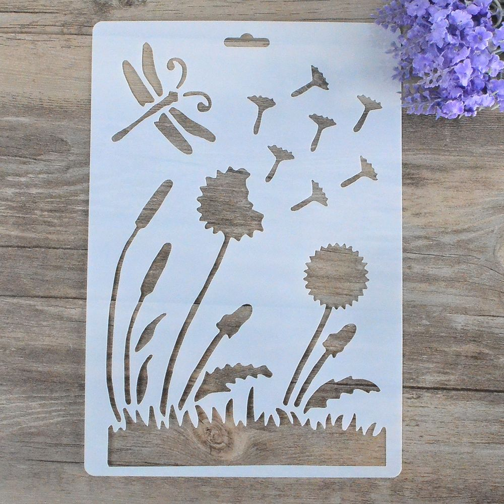 Diy craft dragonfly flower layering stencils for walls painting diy craft dragonfly flower layering stencils for walls painting scrapbooking stamps album decorative embossing paper cardshigh quality stencils for walls jeuxipadfo Gallery